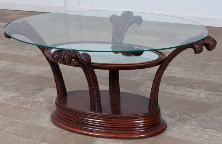 Carved Wood and Glass Oval Gueridon