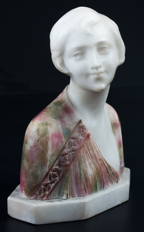 Colored Alabaster Bust of a Young Woman