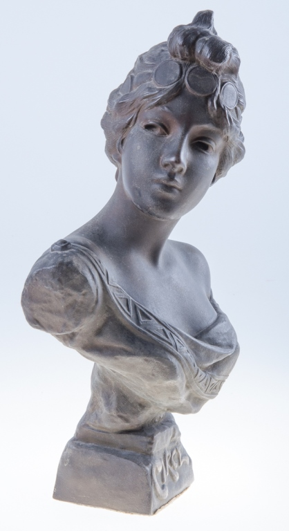 Cast and Patinated Spelter Bust, 19th C
