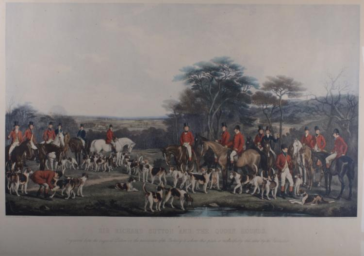 Colored Engraving of English Hunt Scene