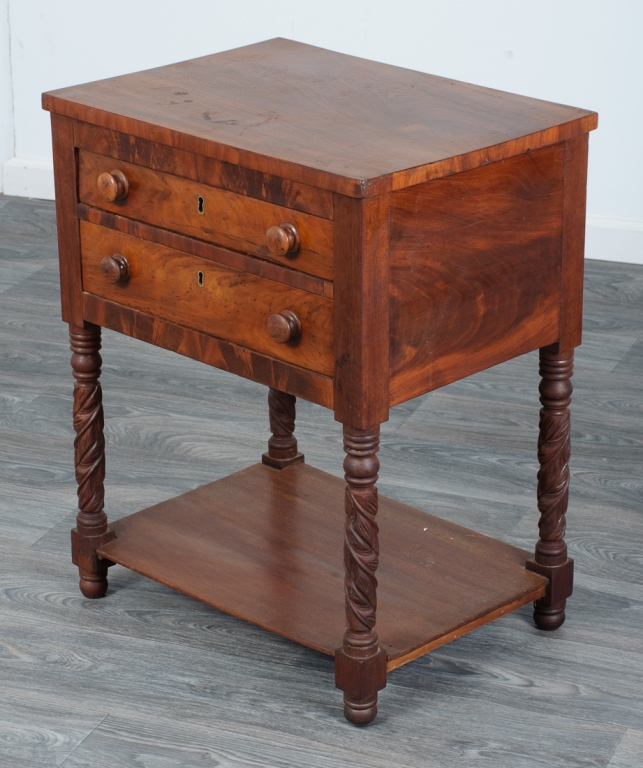 Mahogany Traditional Federal Two Drawer Stand