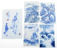 Asian Blue and White Porcelain Tiles Group