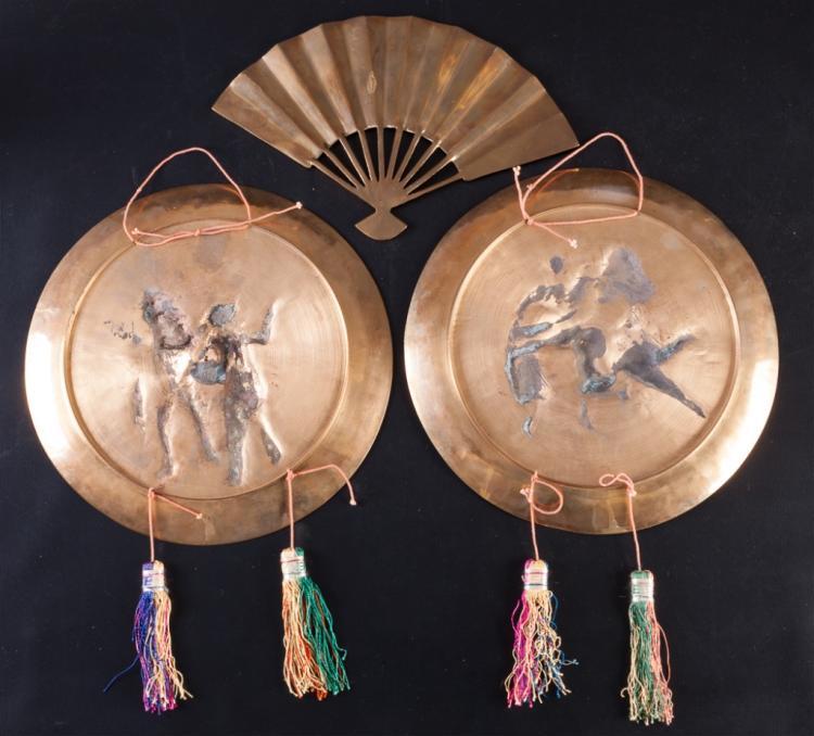 Brass relief asian plates fan wall decor - Wall fans decorative ...