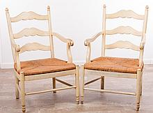Painted White French Provincial Style Arm Chairs