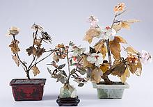 Chinese Jade & Hardstone Trees Trio