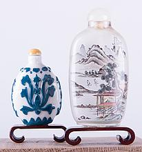 Chinese Snuff Bottles Porcelain & Glass Pair