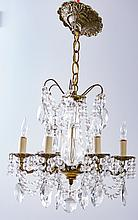 Crystal & Brass Six Branch Chandelier