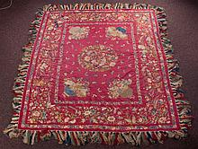 Chinese Embroidered Silk Coverlet Circa 1900s
