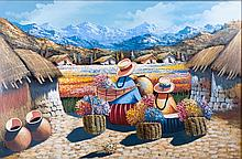 Gutierrez Oil On Canvas Peruvian Village Scene