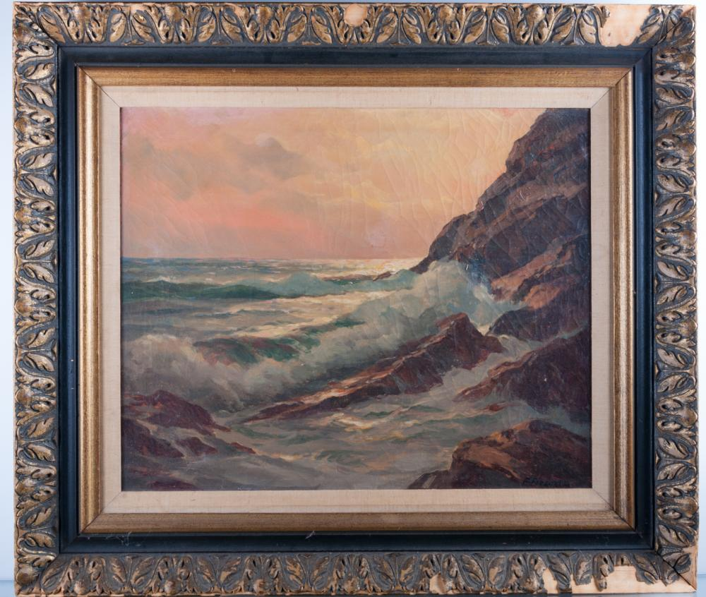Frank Ferruzza Seascape Oil On Canvas
