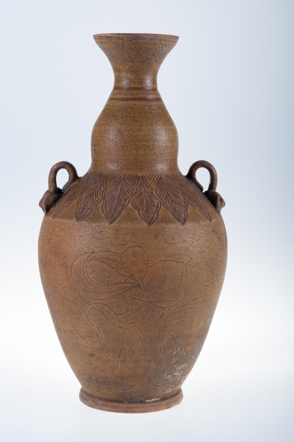 Asian Tea Dust Glaze Porcelain Vase