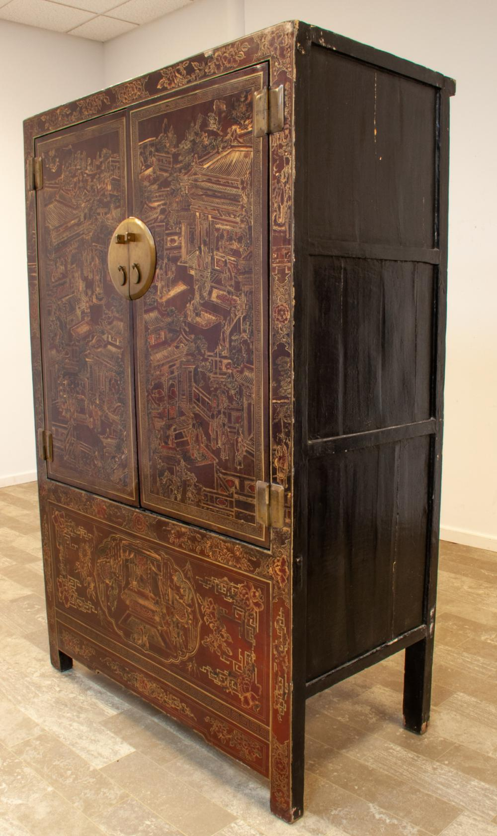 Chinese Lacquered Wedding Cabinet