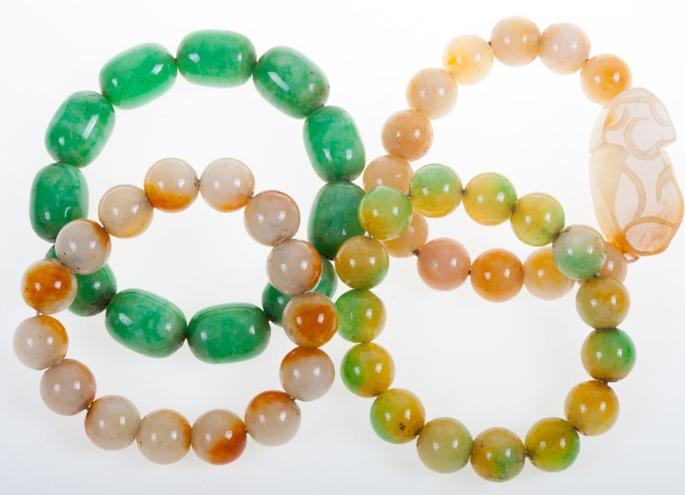 Stone Bead Bracelet Collection, Four (4) Pieces