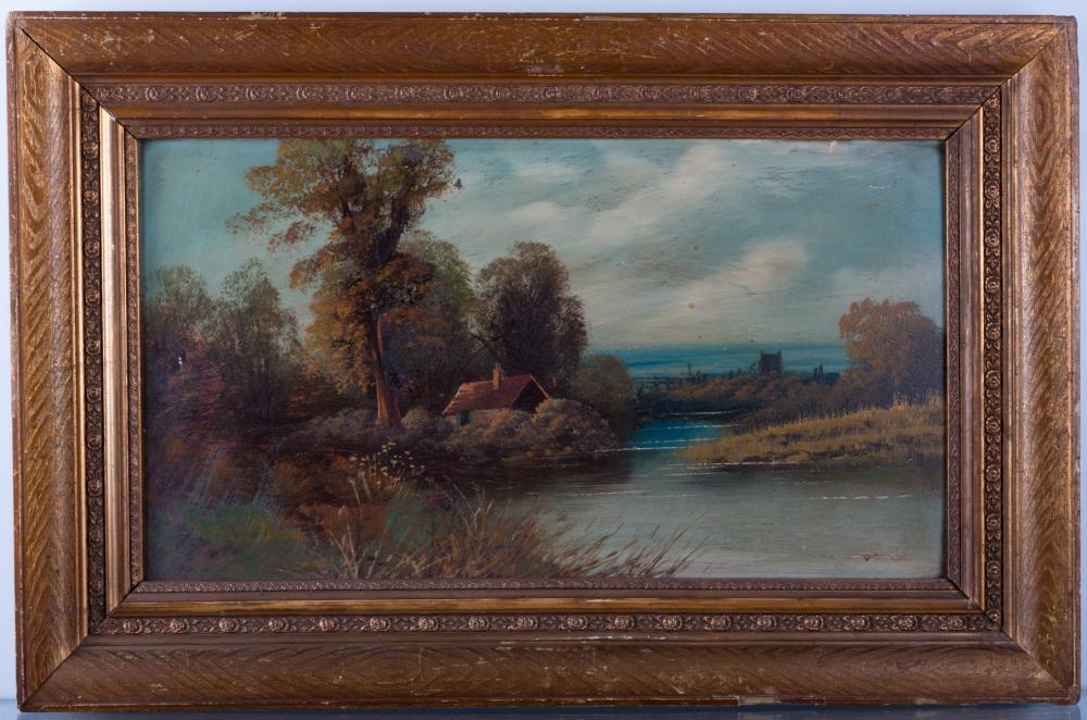 Cottage By River Oil on Canvas