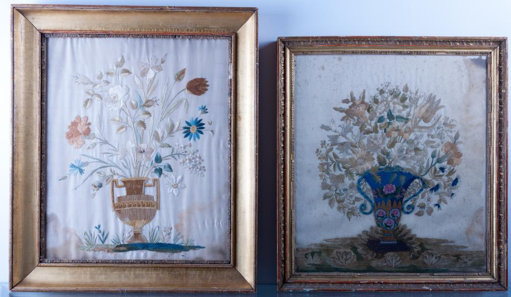 French Embroidered Pictures Pair
