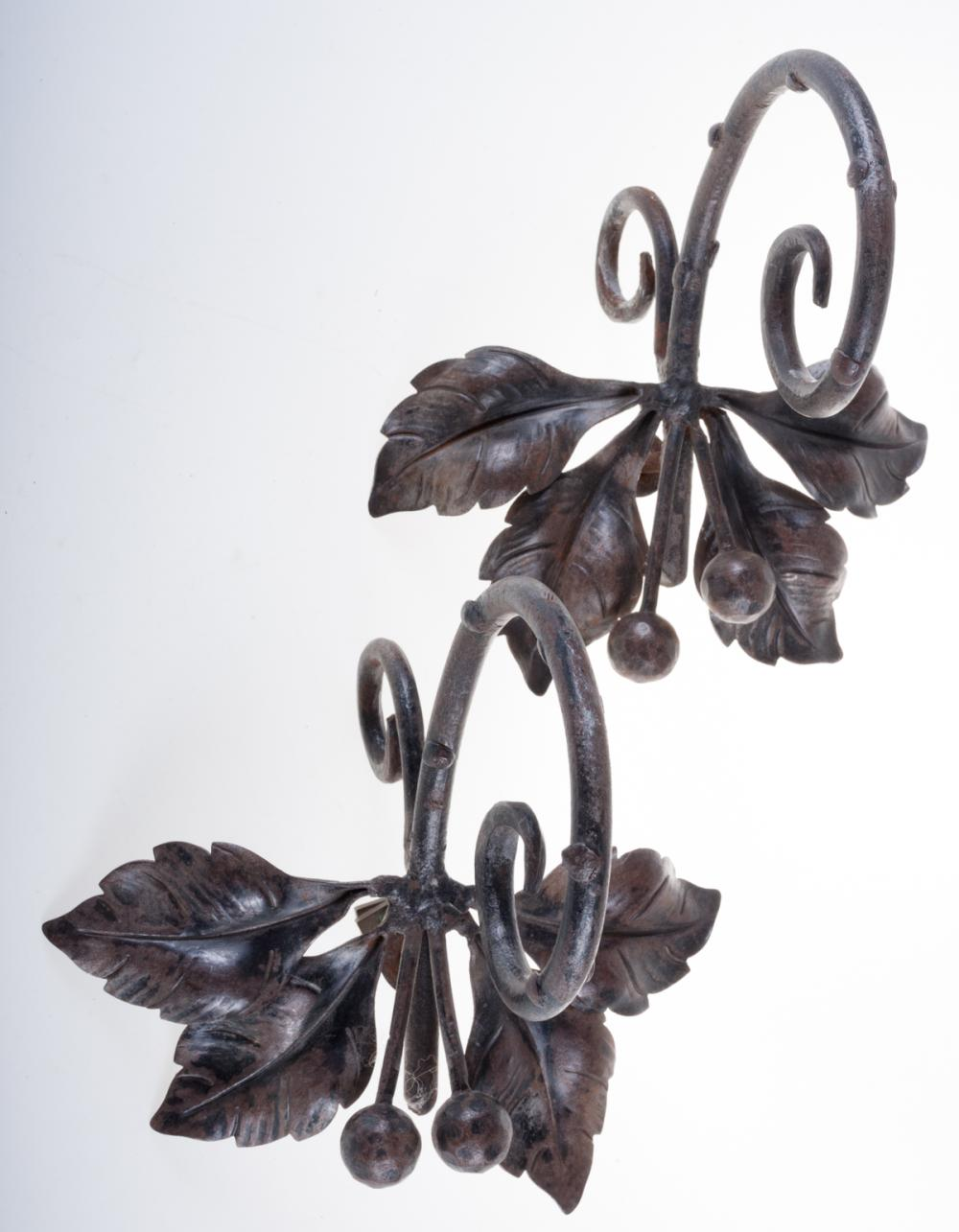 Metal Tiebacks Pair, Cast & Wrought Iron
