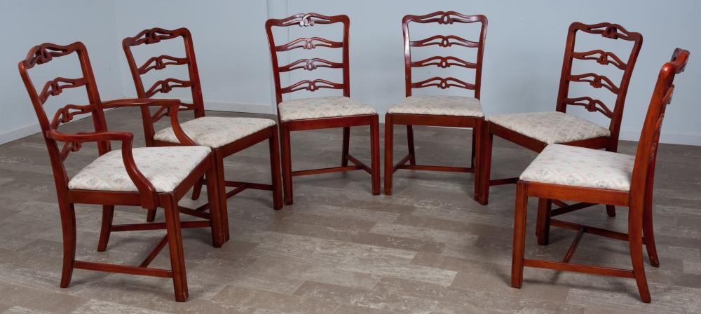 Mahogany Sheraton Style Ribbon Back Dining Chairs