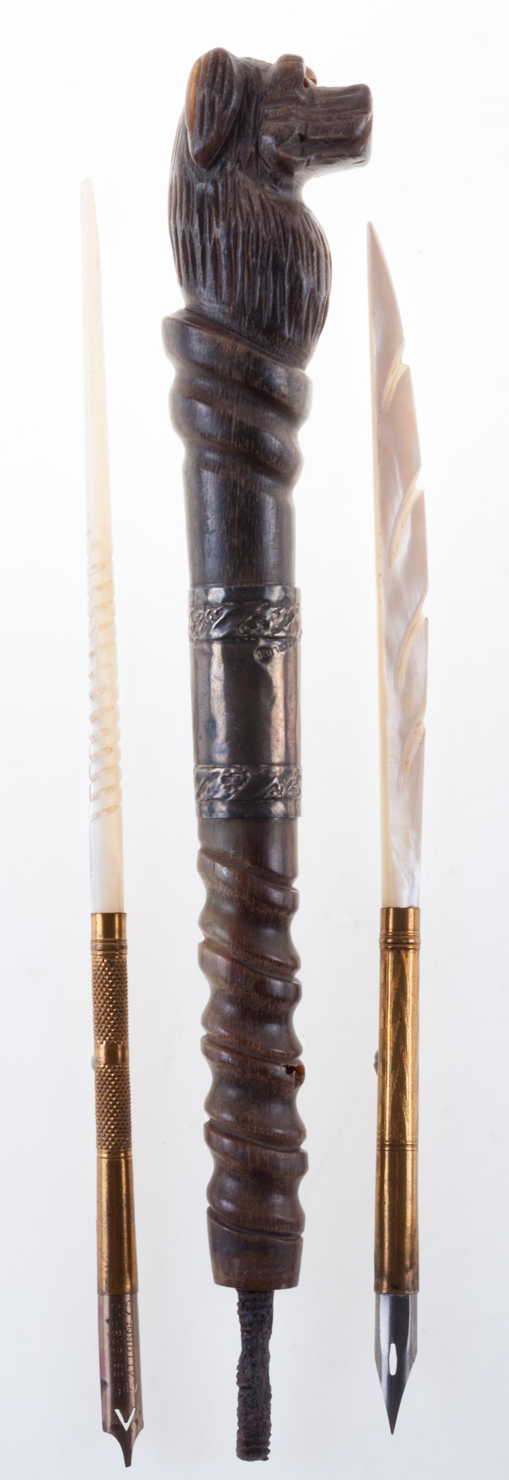 Carved Dog's Head Umbrella Handle & Two Dip Pens