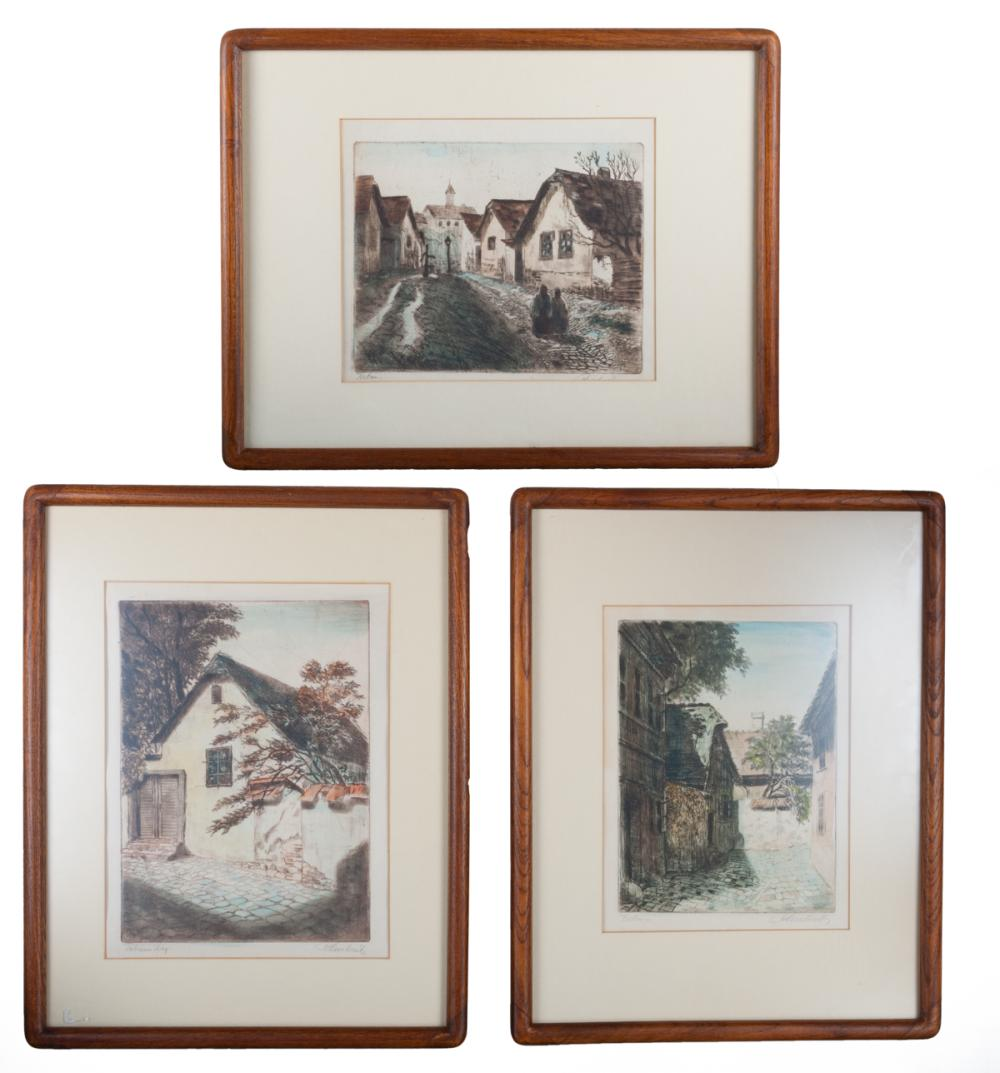 East European Landscape Prints Trio