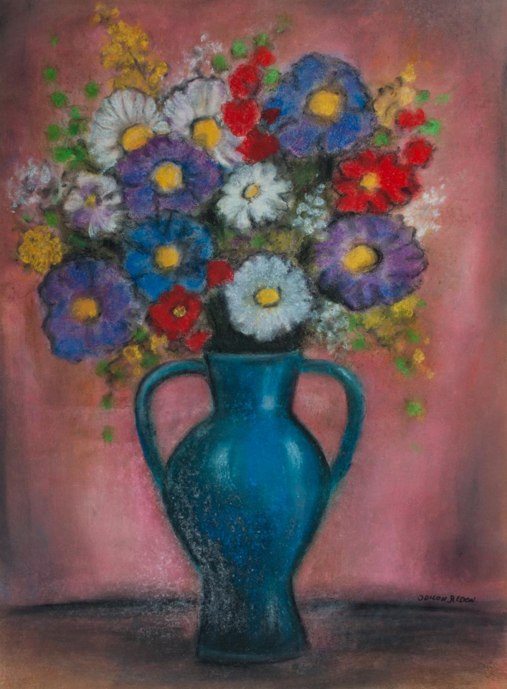 Odilon Redon Pastel on Paper Vase of Flowers