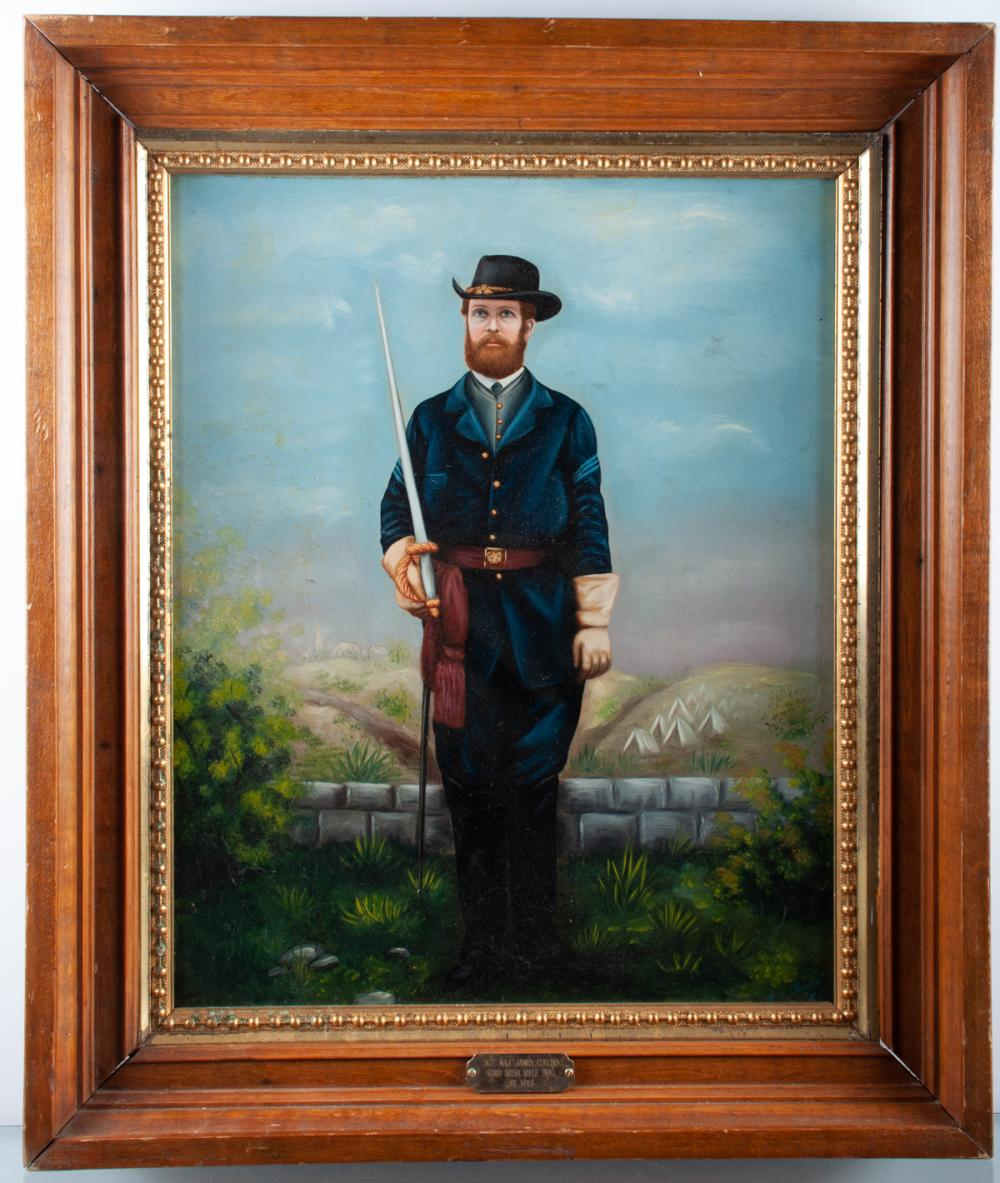 Civil War Sgt. Maj. James Collins, NY Portrait Oil