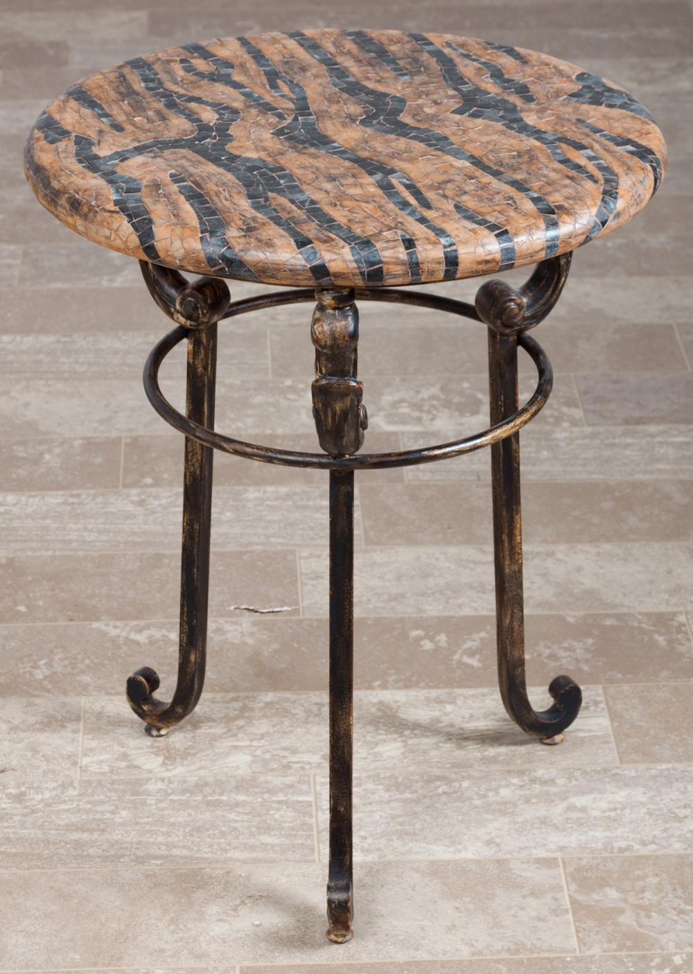Mosaic Top Gueridon / Round Top Side Table
