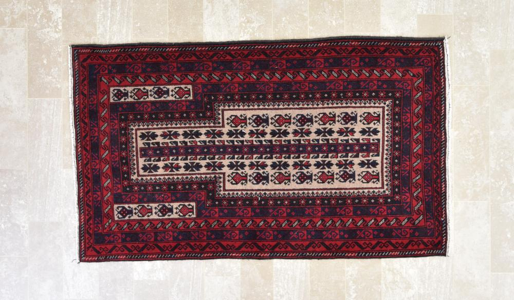 "Afghan Baluchi 2'10"" x 4'10"" Prayer Rug"