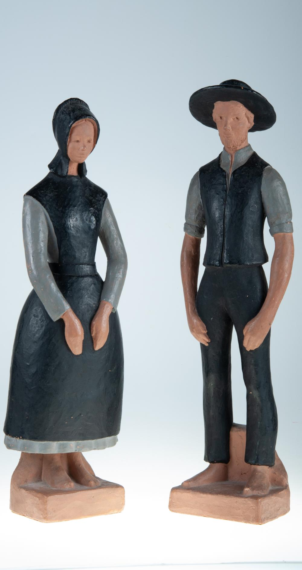 Amish Folk Art Terracotta Figurines Pair, Painted
