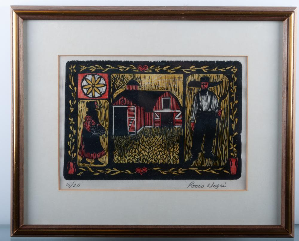 Amish Folk Art Woodcut, #10/20, Rocco Negri
