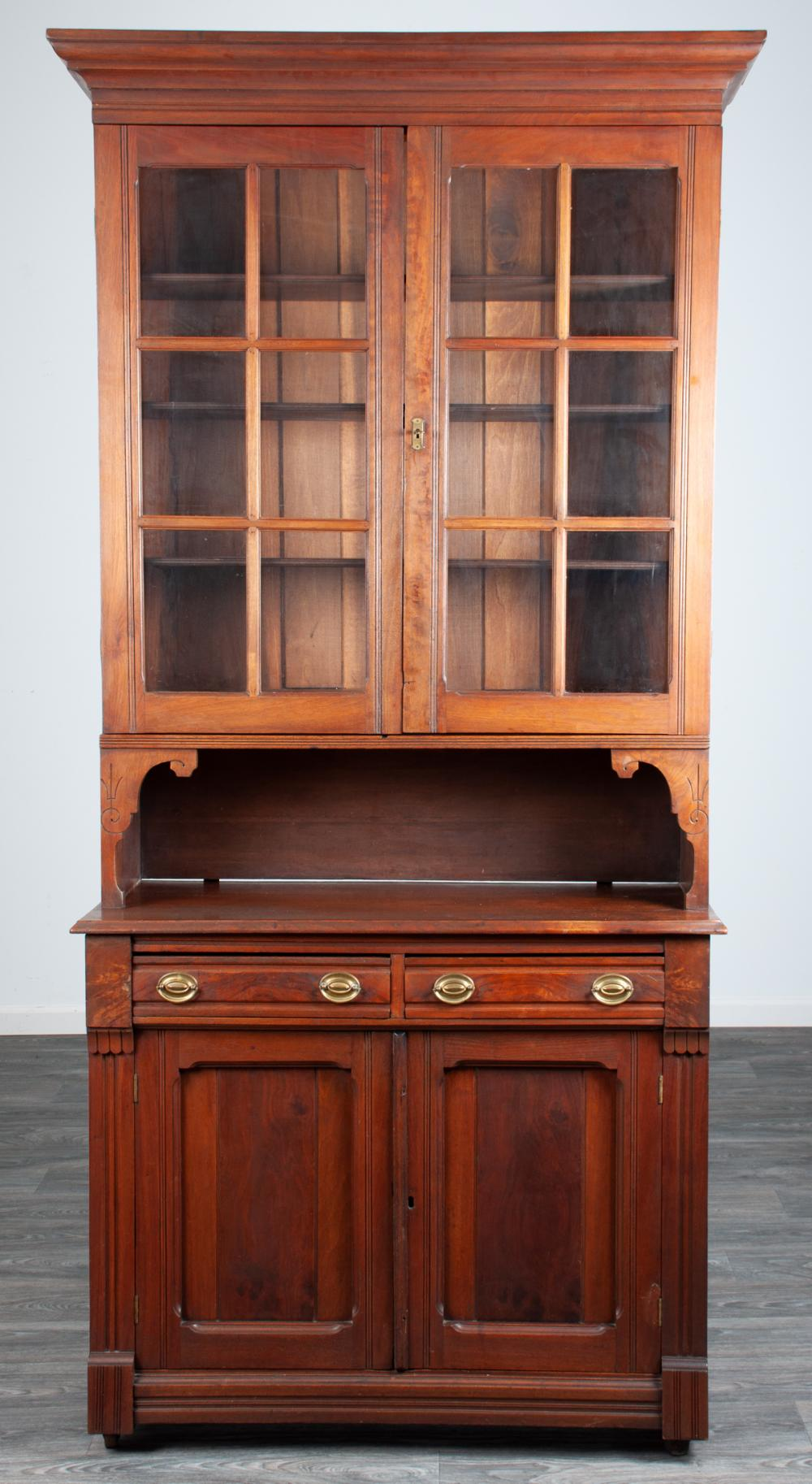 Eastlake Walnut Step Back Cabinet 19th C