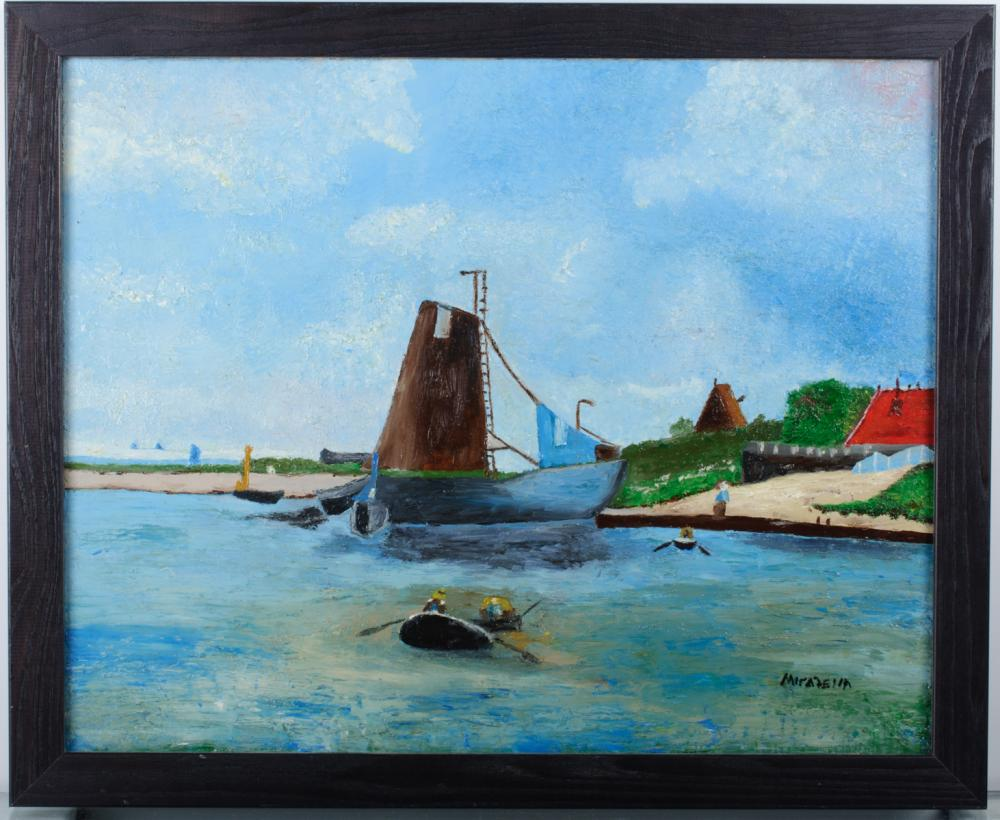 D. Mirabella Harbour Scene Oil on Canvas