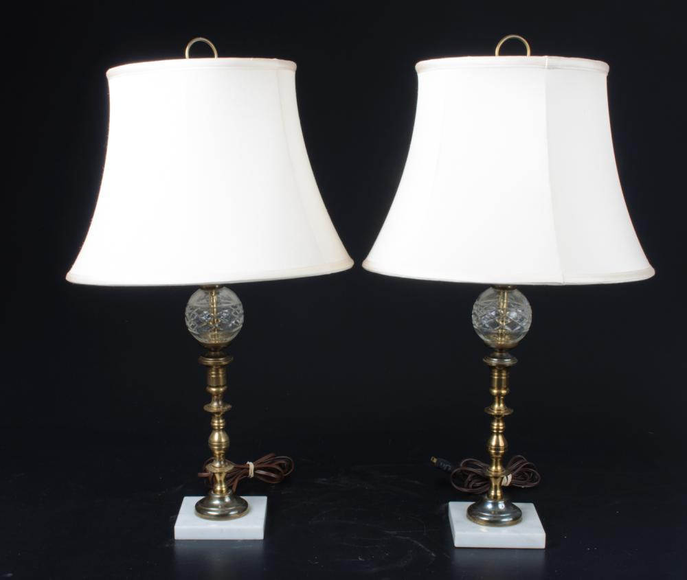 Cut Glass, Brass, & Marble Lamps Pair