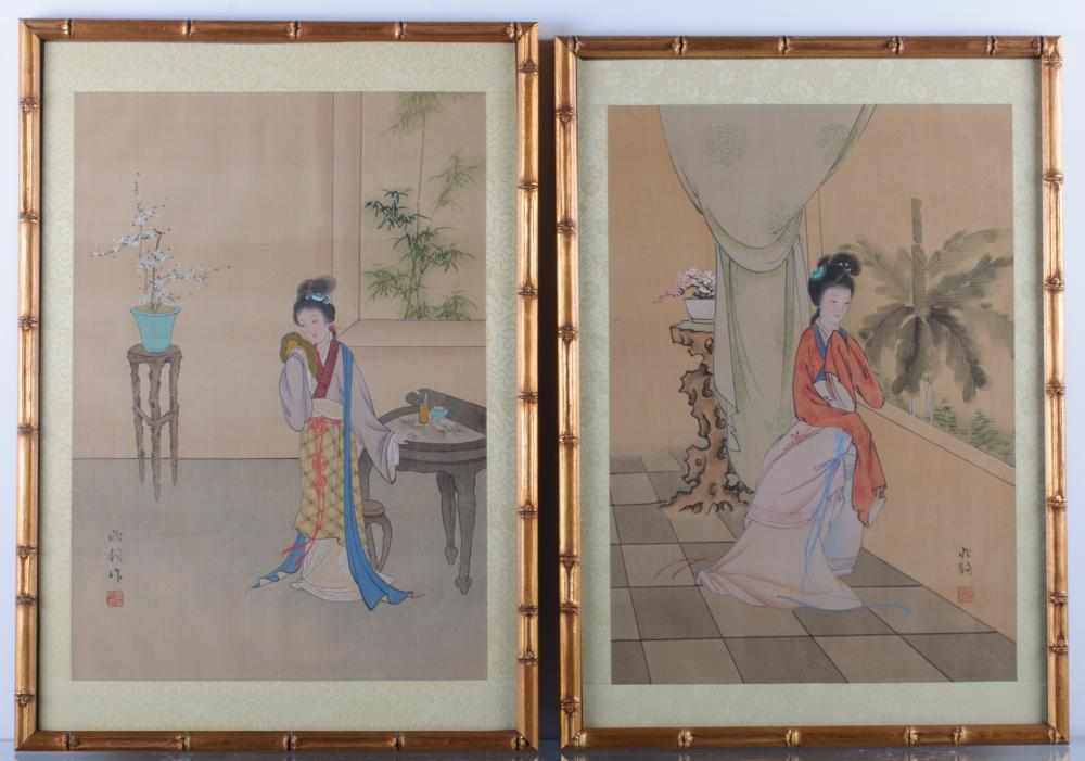Japanese Prints on Silk Pair
