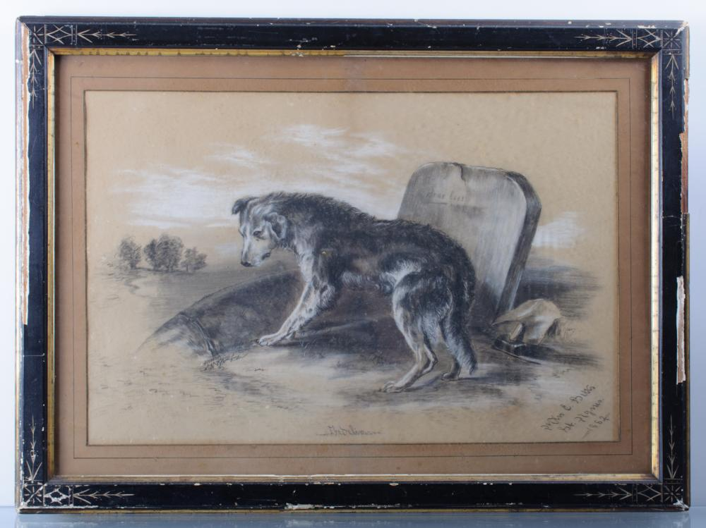 1882 Charcoal Drawing of a Dog and Headstone