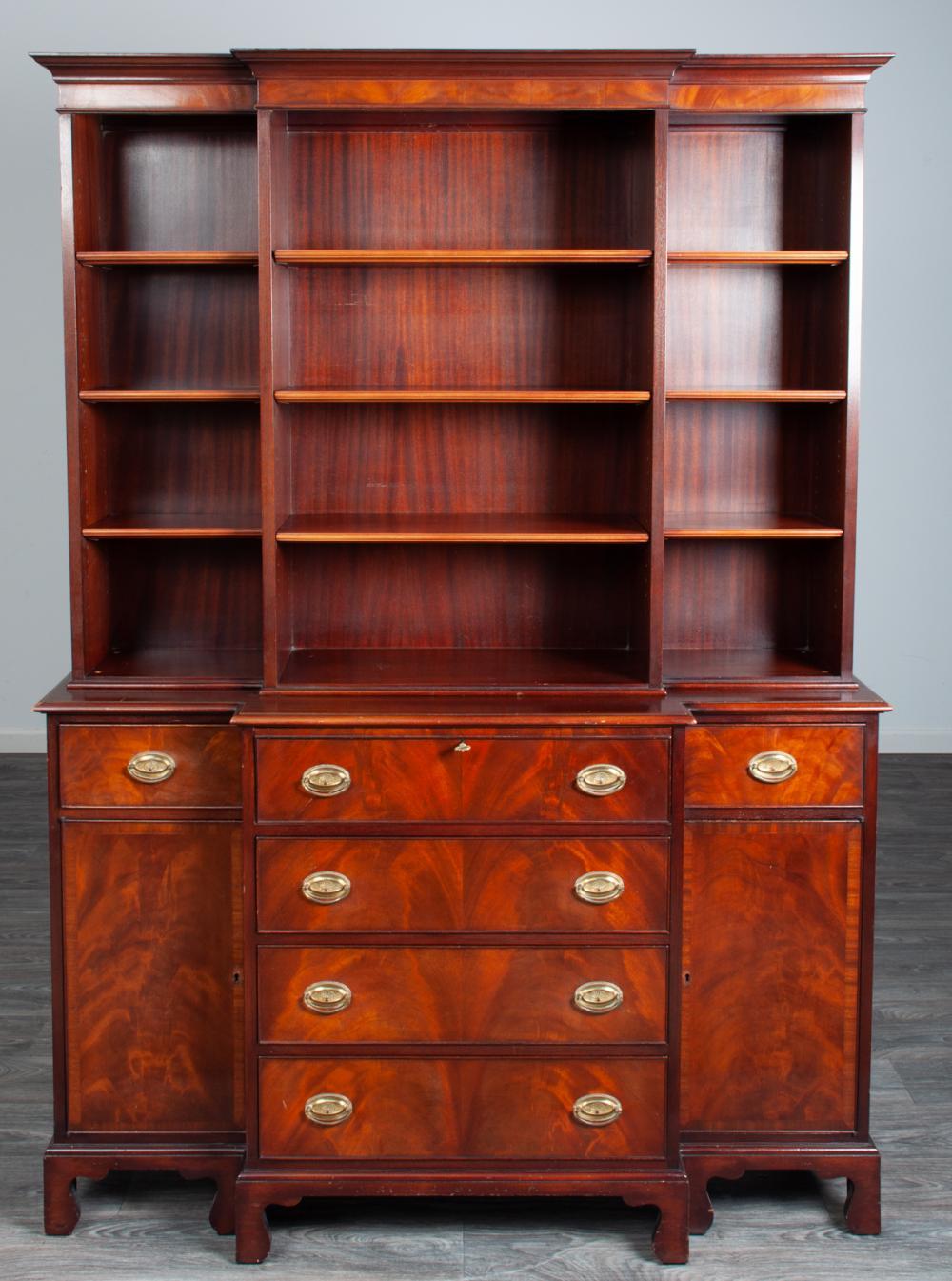 Mahogany Block Front Secretary Bookcase