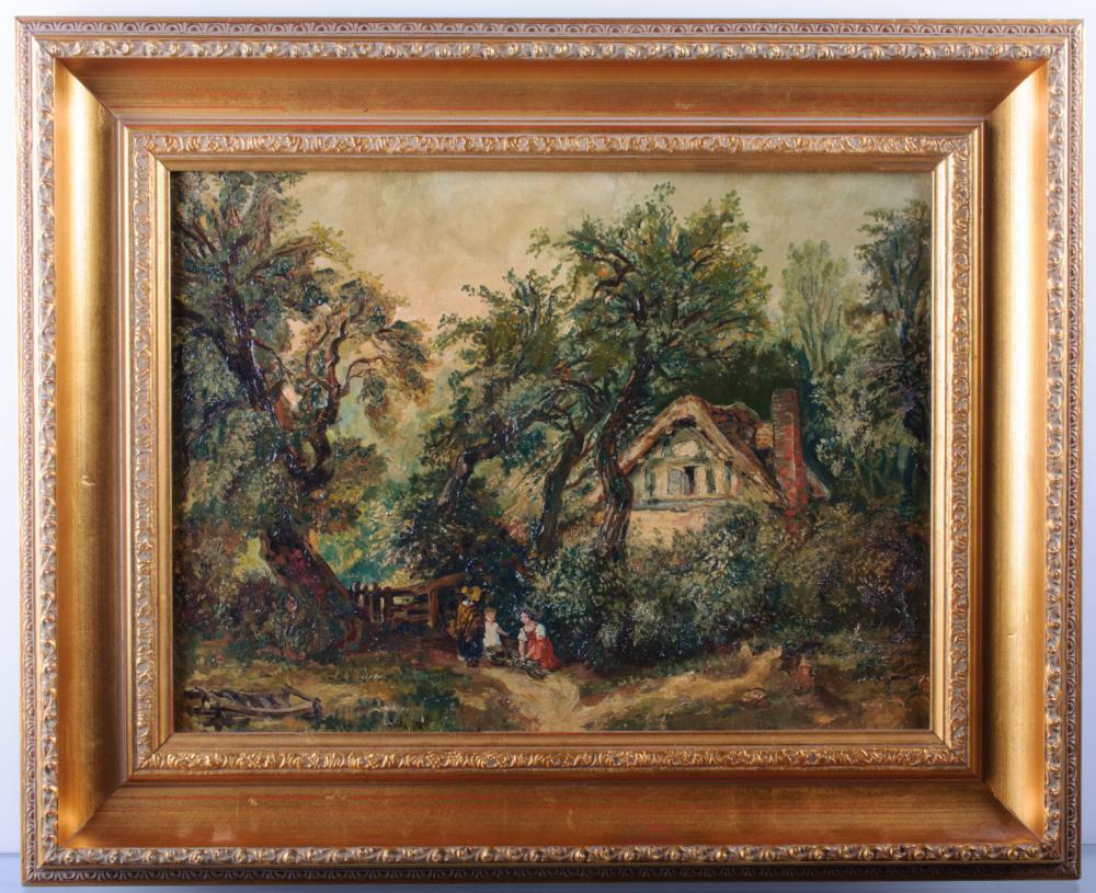Edward C. Williams Cottage in Woods Oil on Canvas