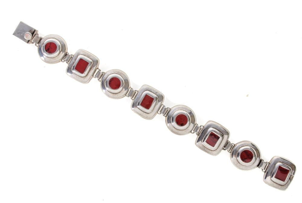 Mexican Sterling Silver & Red Inlay Bracelet