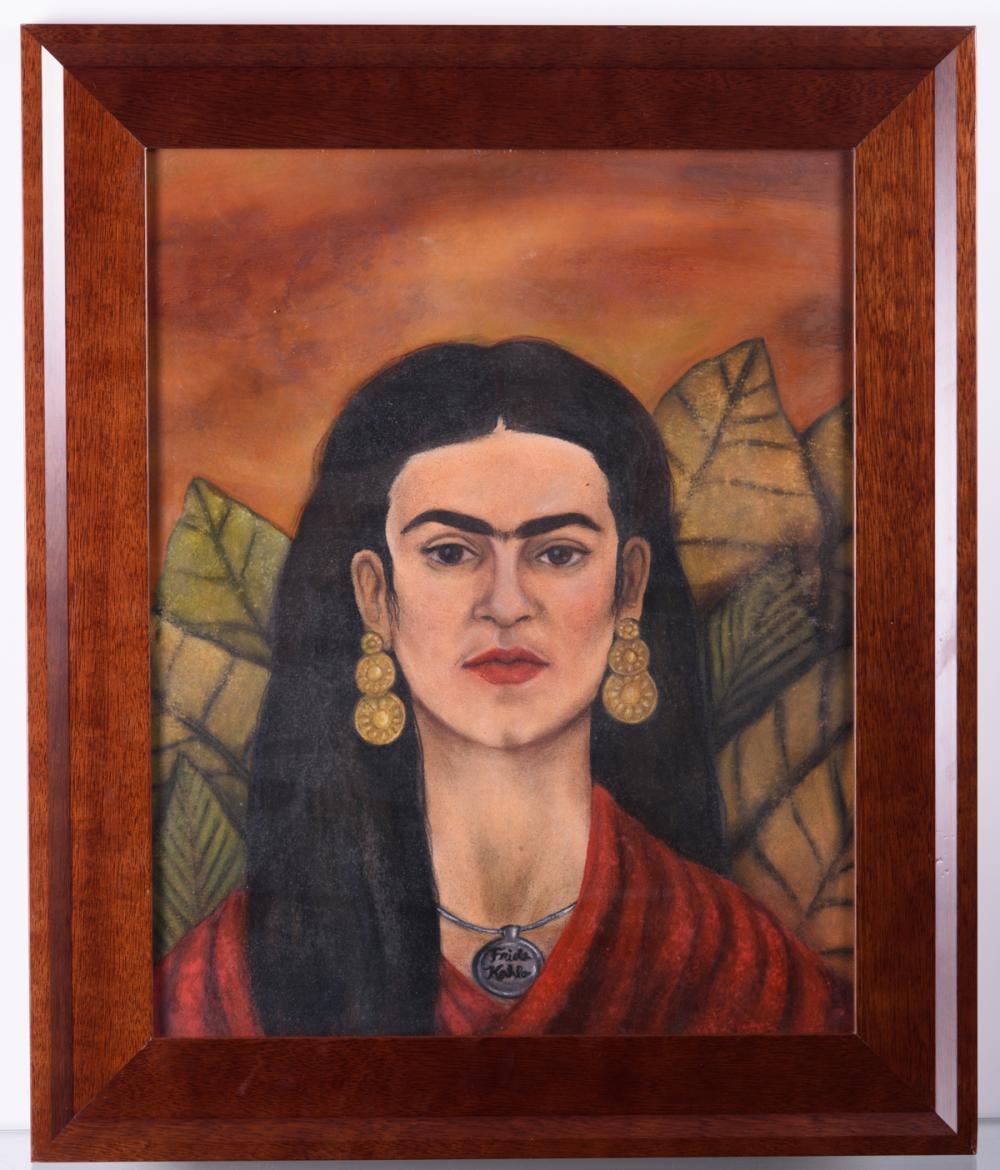"Frida Kahlo ""Autorretrato"" Mixed Media Drawing"