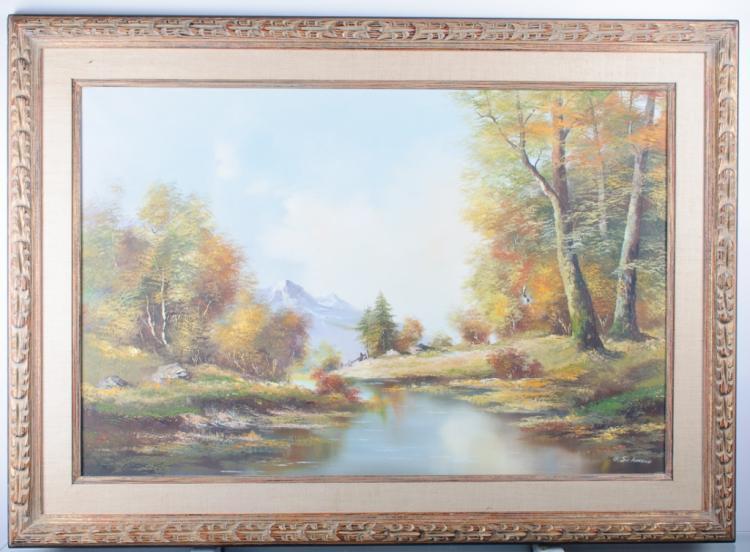 O. Schmidt River Landscape Oil On Canvas