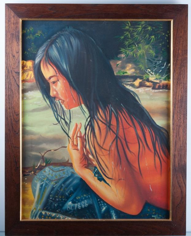 Seminude Female Oil on Canvas