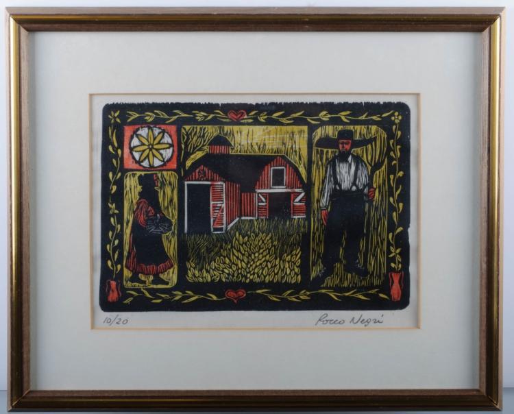 Amish Folk Art Woodcut, #10/20, Rocco Negri