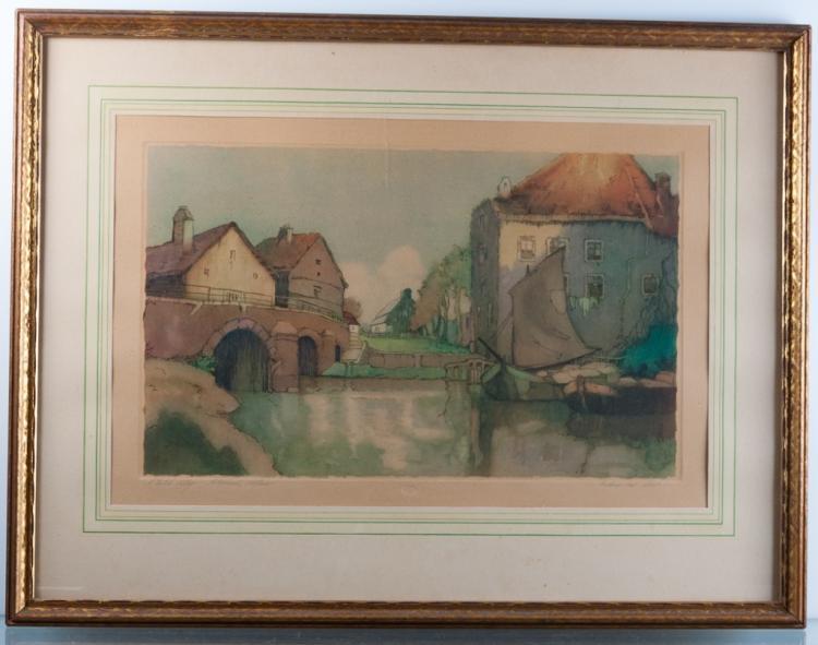 Frederic Van Helm Dutch Village Aquatint