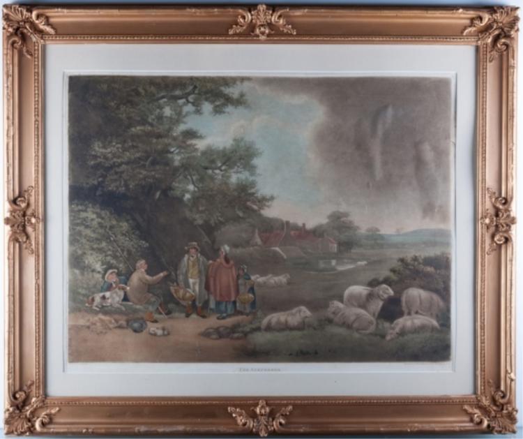 "W. Ward ""The Shepherds"" By G. Morland Mezzotint"