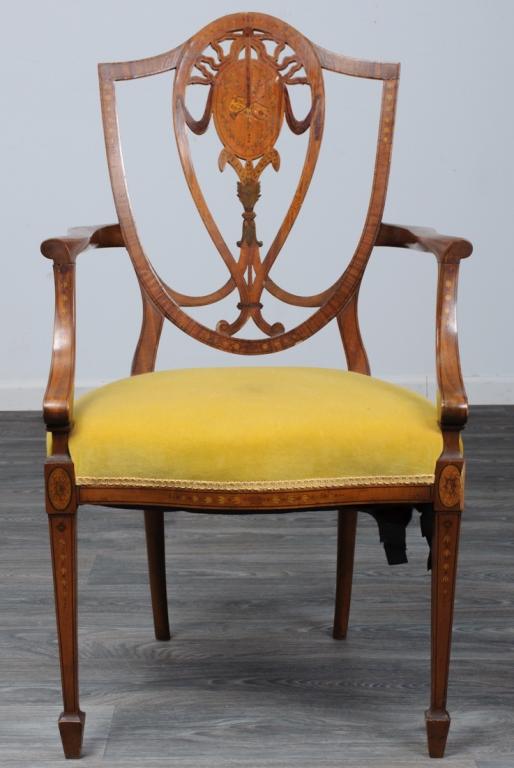 Georgian Hepplewhite Style Shieldback Armchair