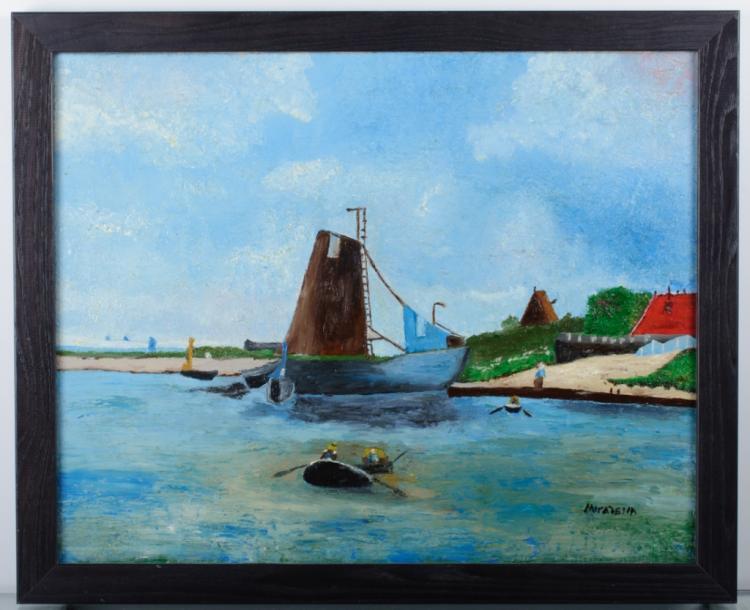 D. Mirabella Harbour Scene Oil on Canvas