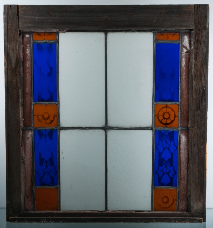 Antique Leaded Stained Glass Window, Wood Frame