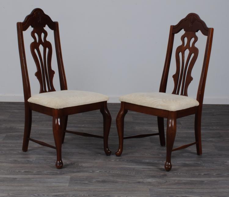 Mahogany Finish Side Chairs Pair