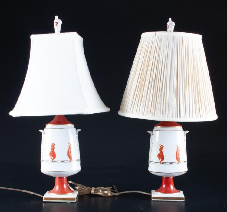 Hand Painted Porcelain Lamps Pair
