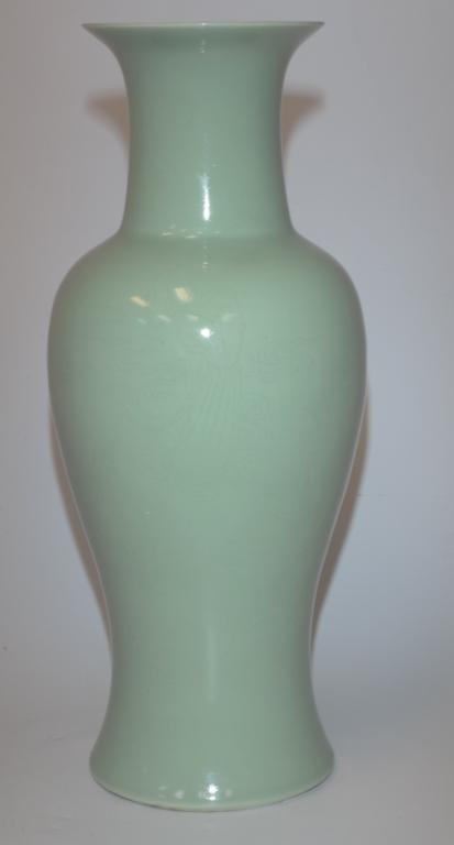 Chinese Celadon Glaze Porcelain Vase 19th C