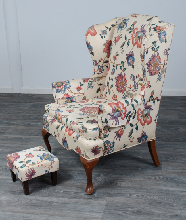 Jacobean Floral Print Wingback Chair & Footstool
